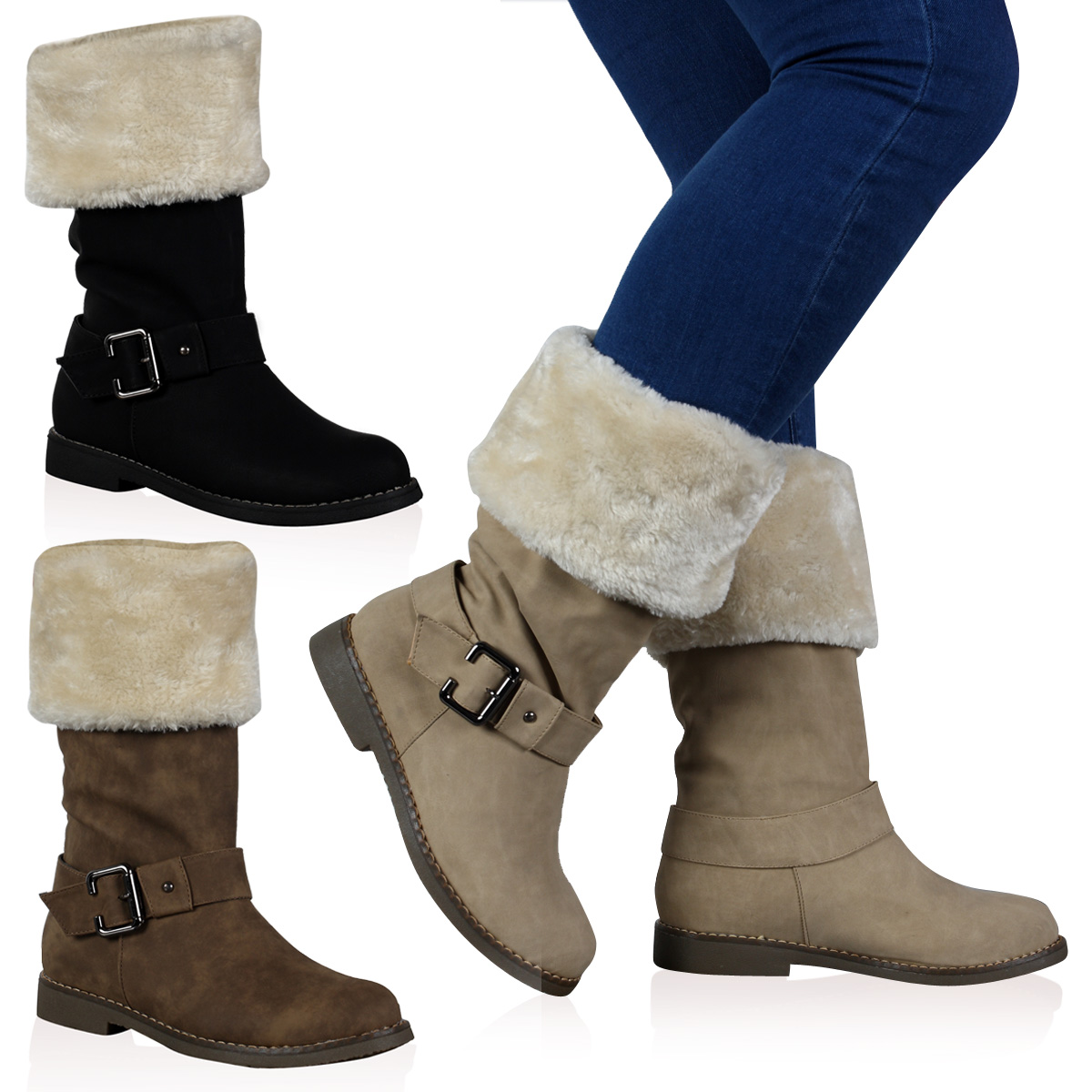 VH3 WOMENS FAUX FUR LINED TRIM LADIES FLAT WINTER CALF HIGH BOOTS ...