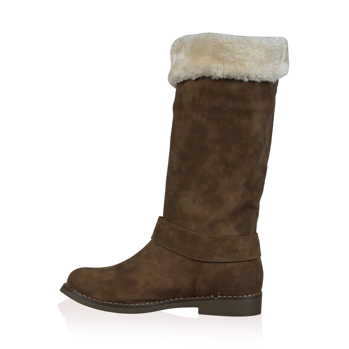 new womens brown faux fur lined winter calf length