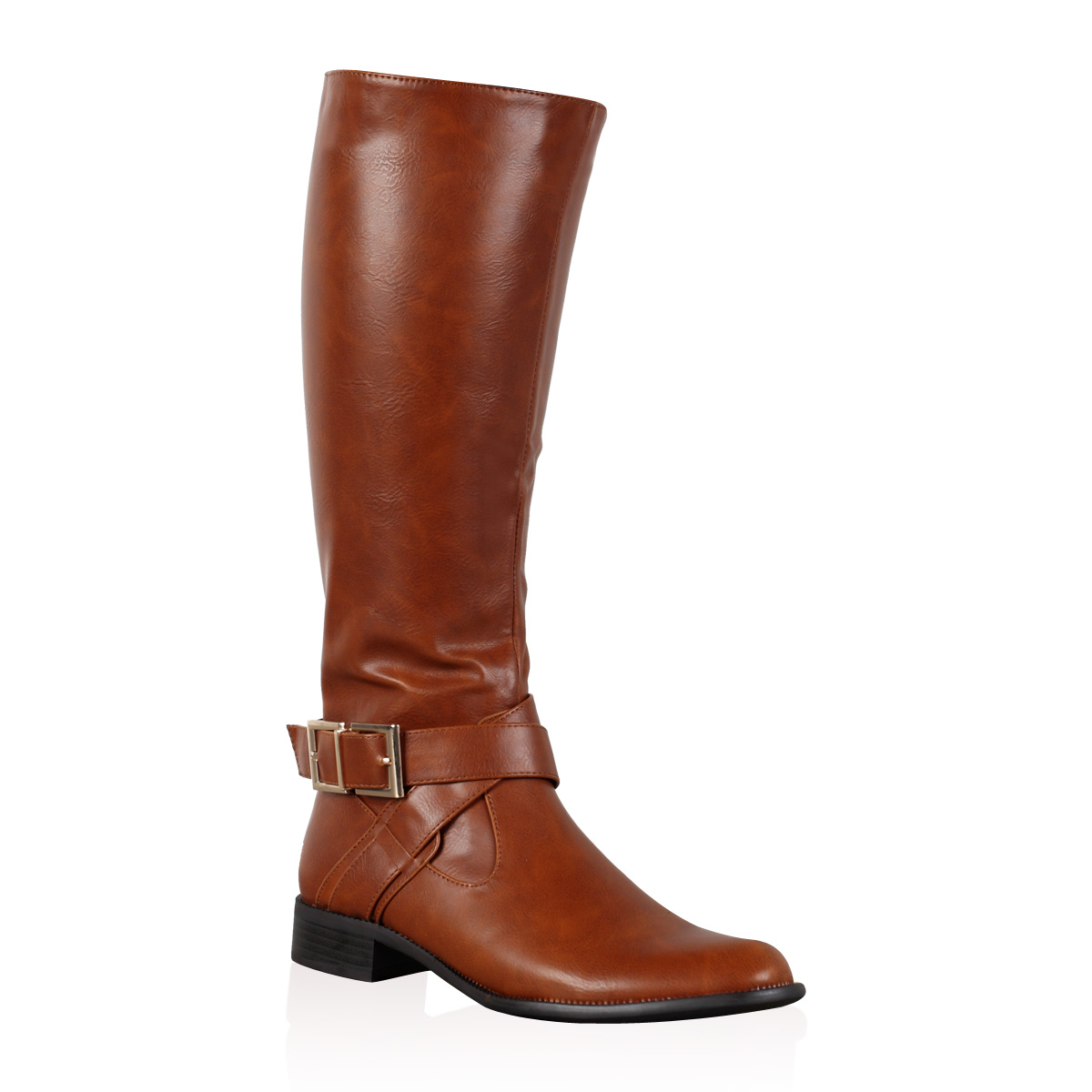 womens brown faux leather winter knee high