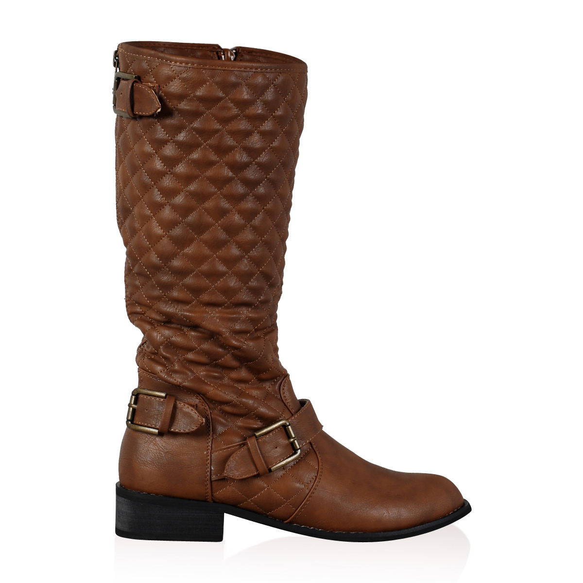 new womens brown quilted flat calf length