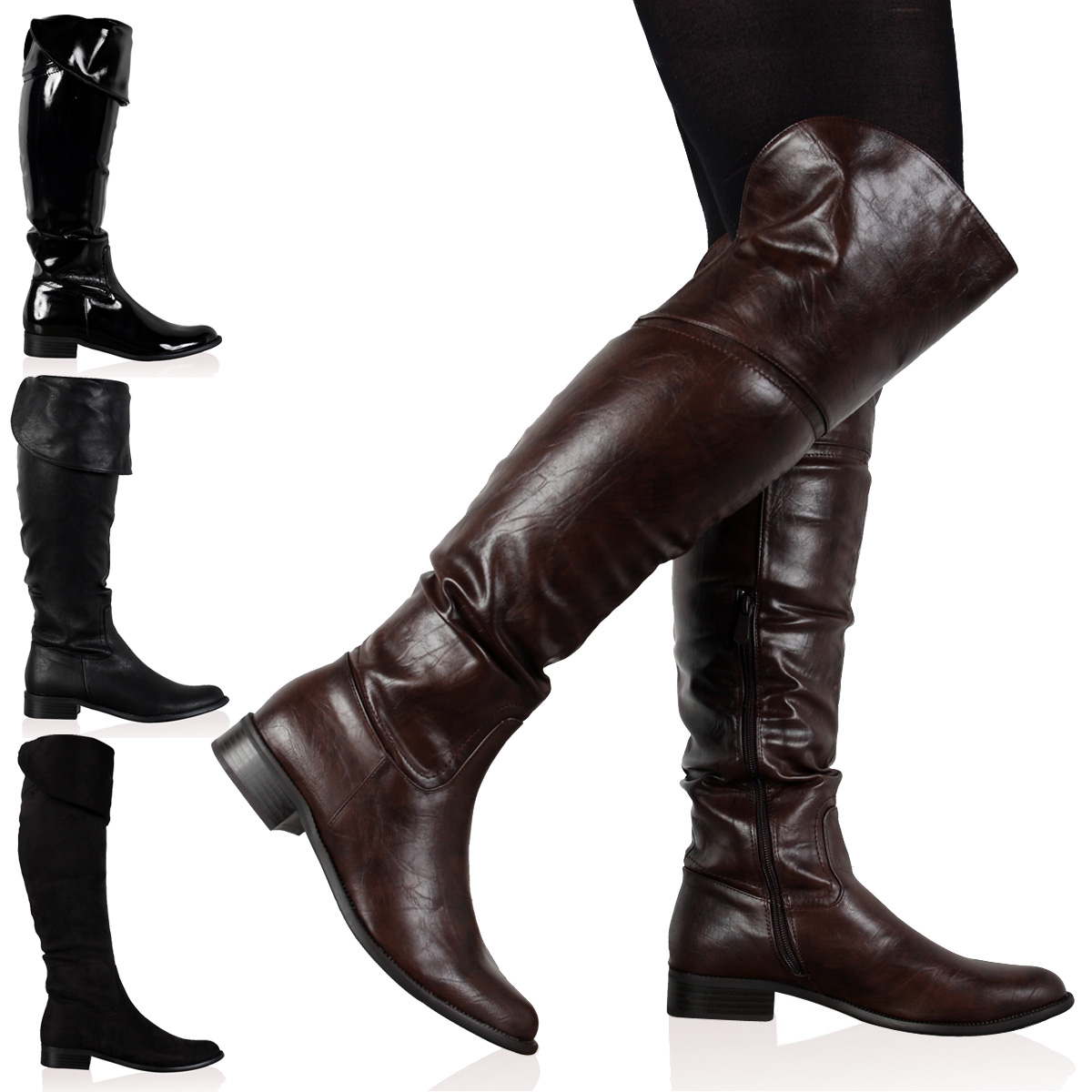 DD16 WOMENS ZIP UP LADIES WINTER OVER THE KNEE HIGH RIDING BOOTS ...