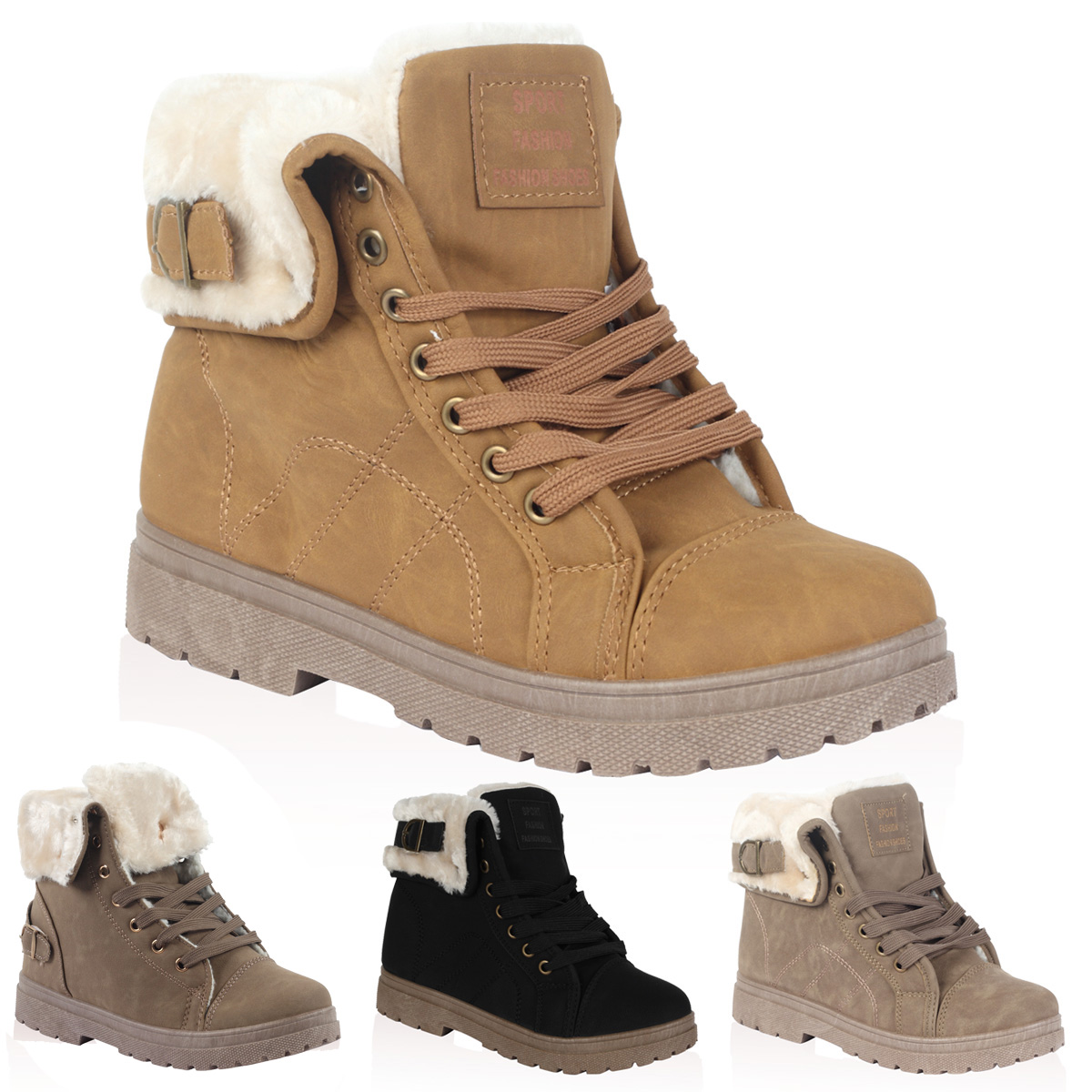New Ladies Faux Fur Grip Sole Womens Winter Snow Ankle