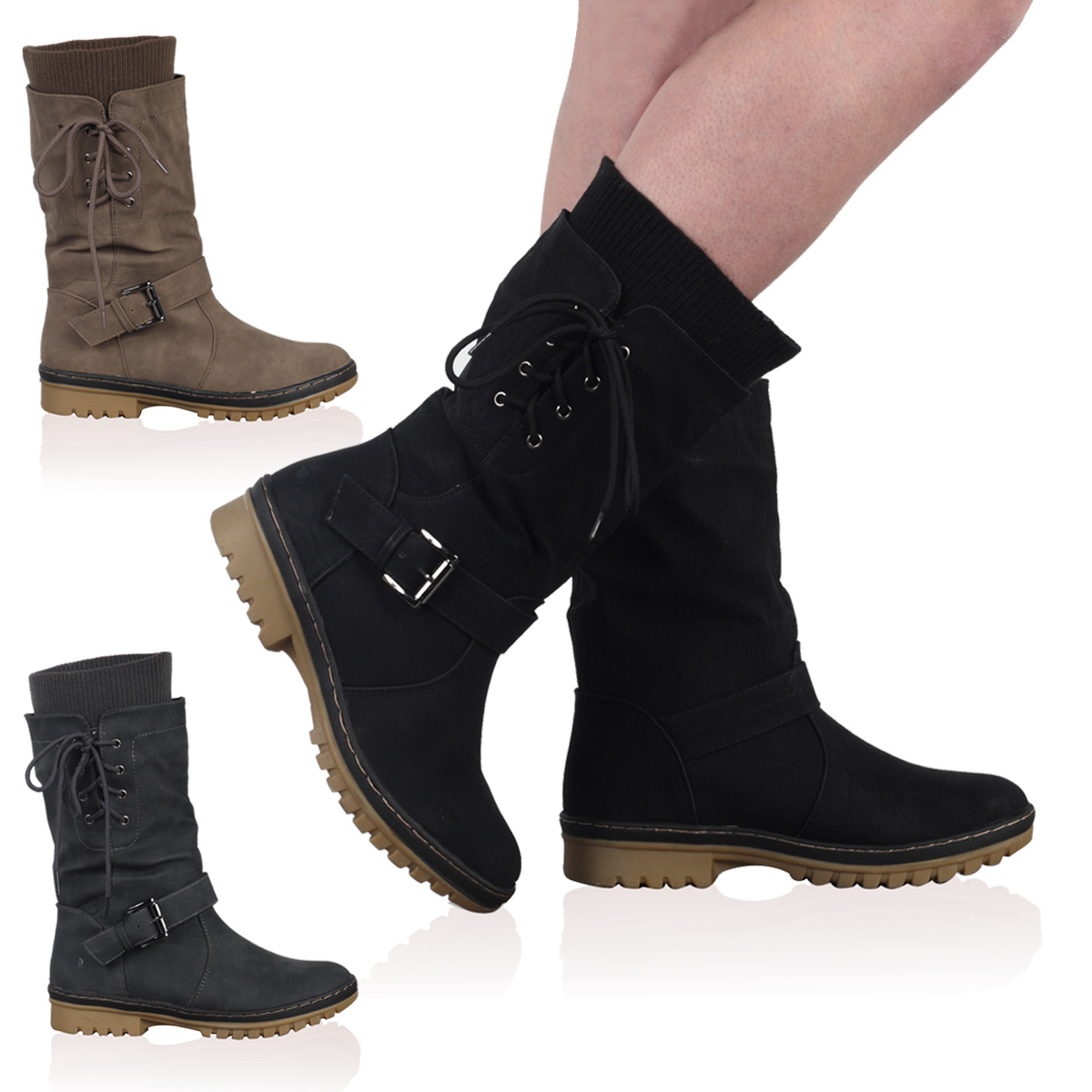 New Ladies Faux Leather Womens Winter Snow Grip Calf Long Boots Shoes Size 4-9
