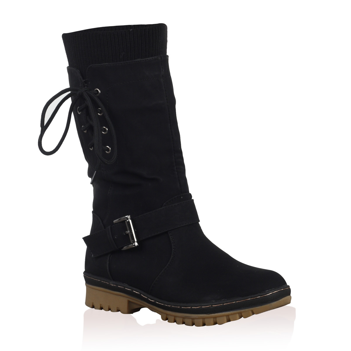 New Ladies Faux Leather Womens Casual Snow Grip Calf High Boots ...