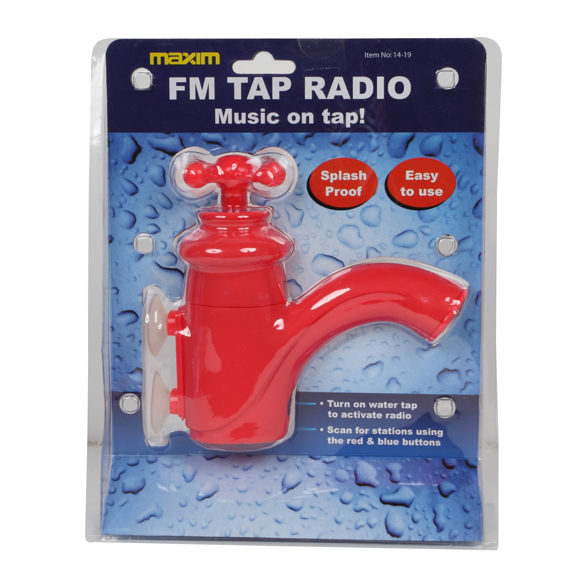 New Maxim Red Splash Proof Giant FM Tap Radio Bathtime Novelty Christmas Gift