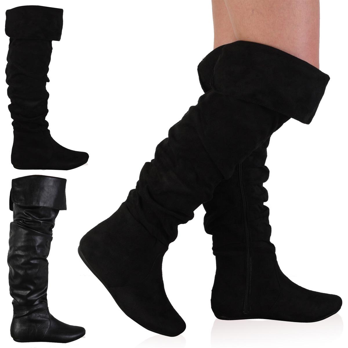bottes longue en faux cuir pour femme plate genou haut. Black Bedroom Furniture Sets. Home Design Ideas