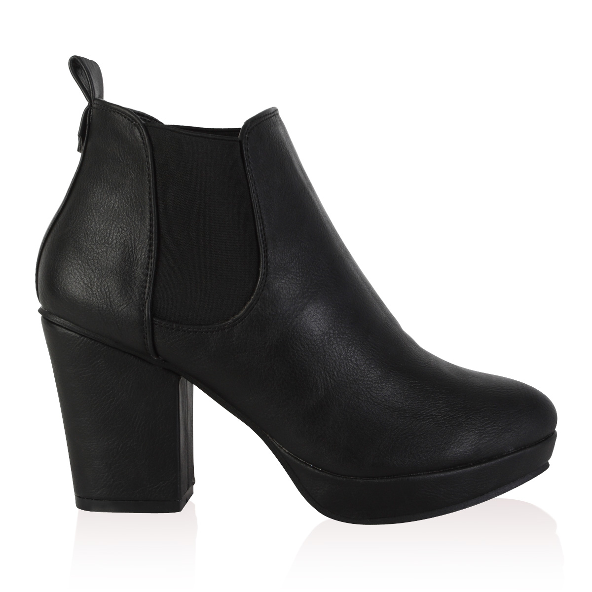 98c bottines chelsea pour femme plateforme talon carre chaussures taille 36 41 ebay. Black Bedroom Furniture Sets. Home Design Ideas