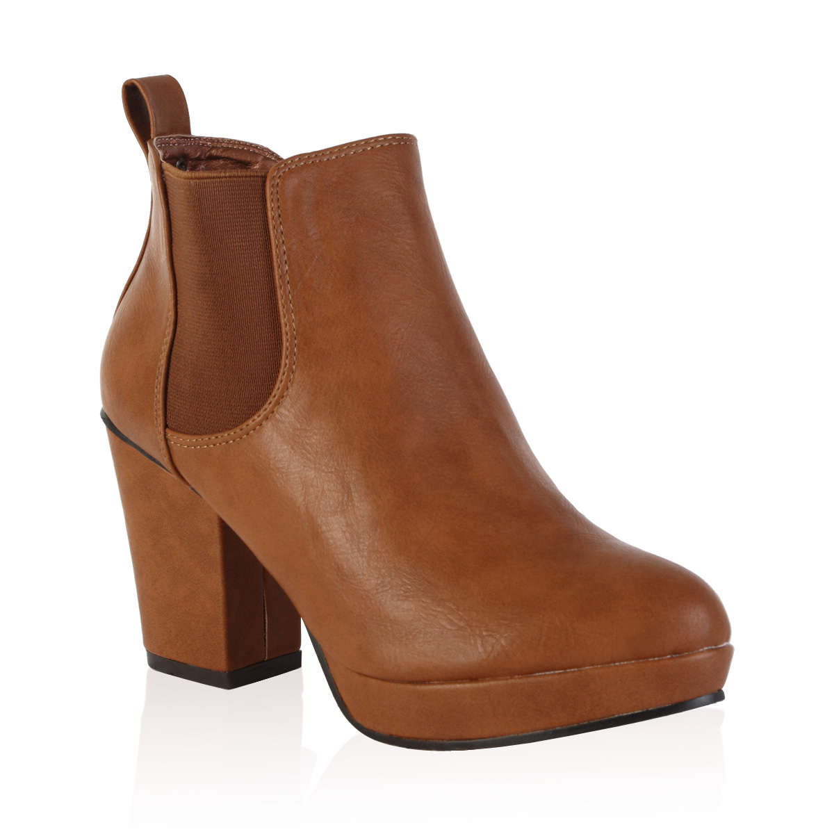 98c womens chelsea boots platform heel shoes size 36 41 carre ebay. Black Bedroom Furniture Sets. Home Design Ideas
