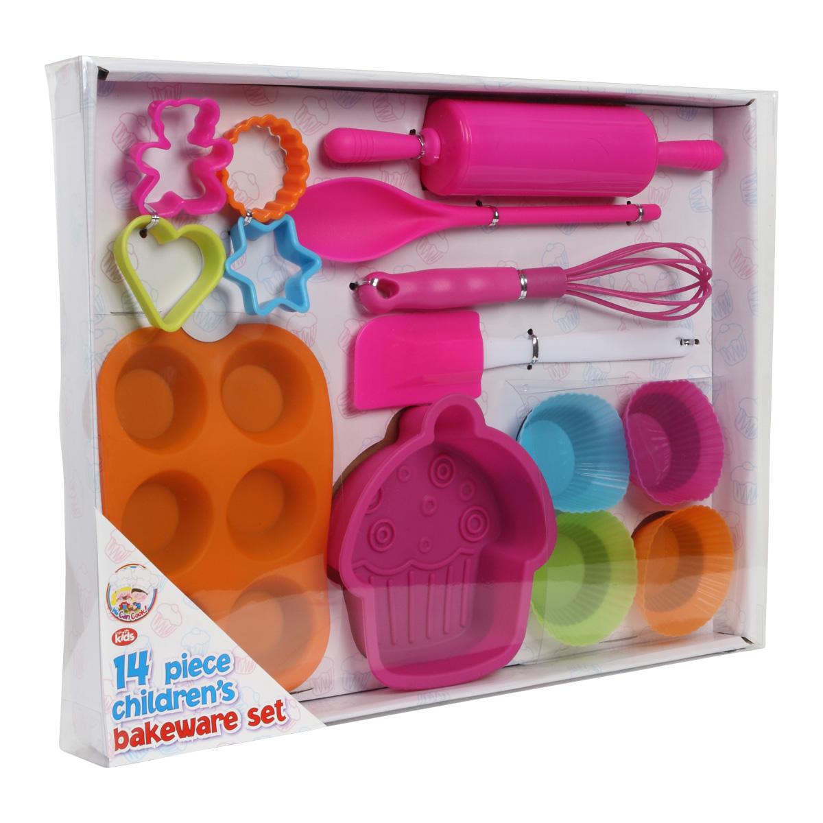 new we can cook childrens girls 14 piece baking pink kit kids cooking gift set ebay. Black Bedroom Furniture Sets. Home Design Ideas