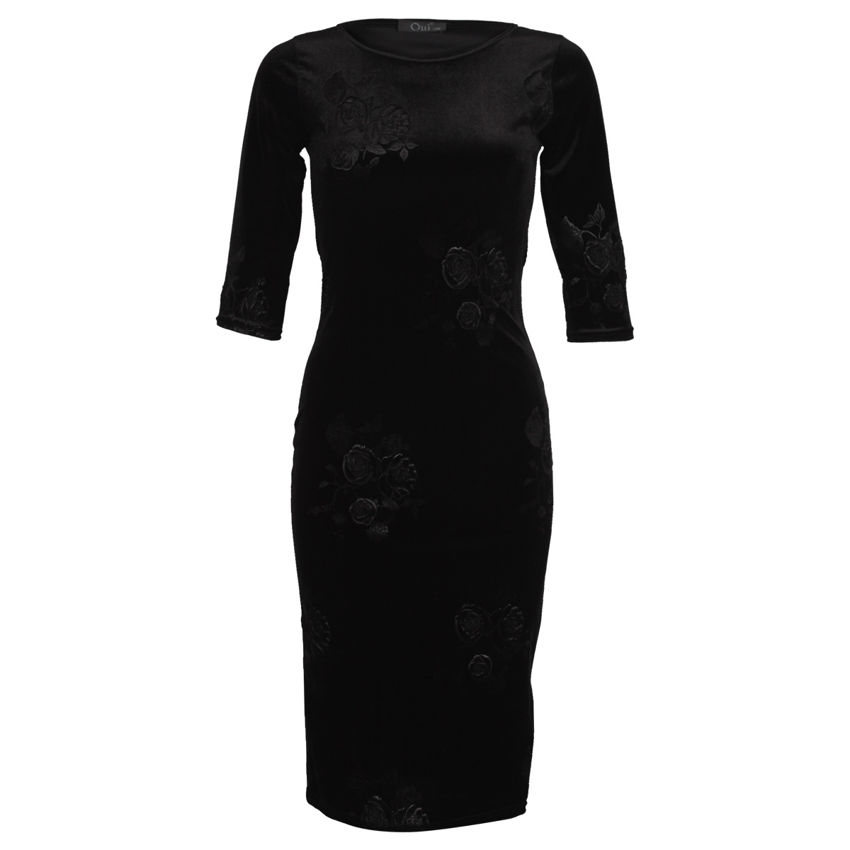 New Ladies Black Floral Velvet Womens Bodycon Long Fitted Midi Dress Size 8-14