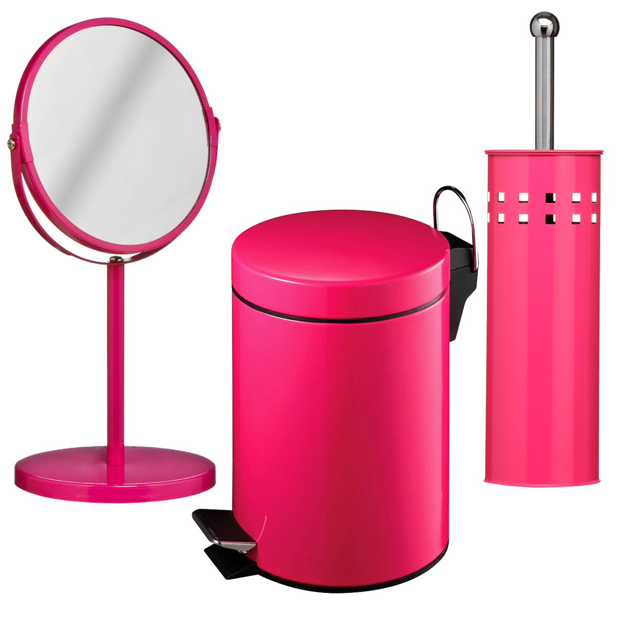 New premier hot pink 3 litre bathroom pedal bin toilet for Pink toilet accessories