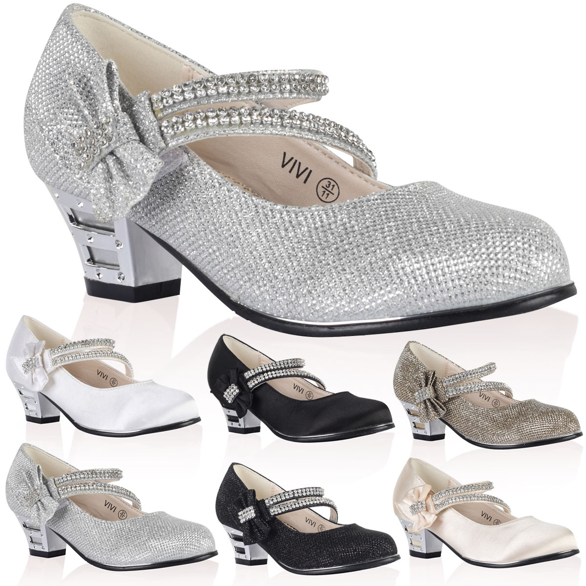 6Z GIRLS DIAMANTE BOW KIDS SPARKLE PARTY MARY JANE HEELED COURT SHOES SIZE 10-2
