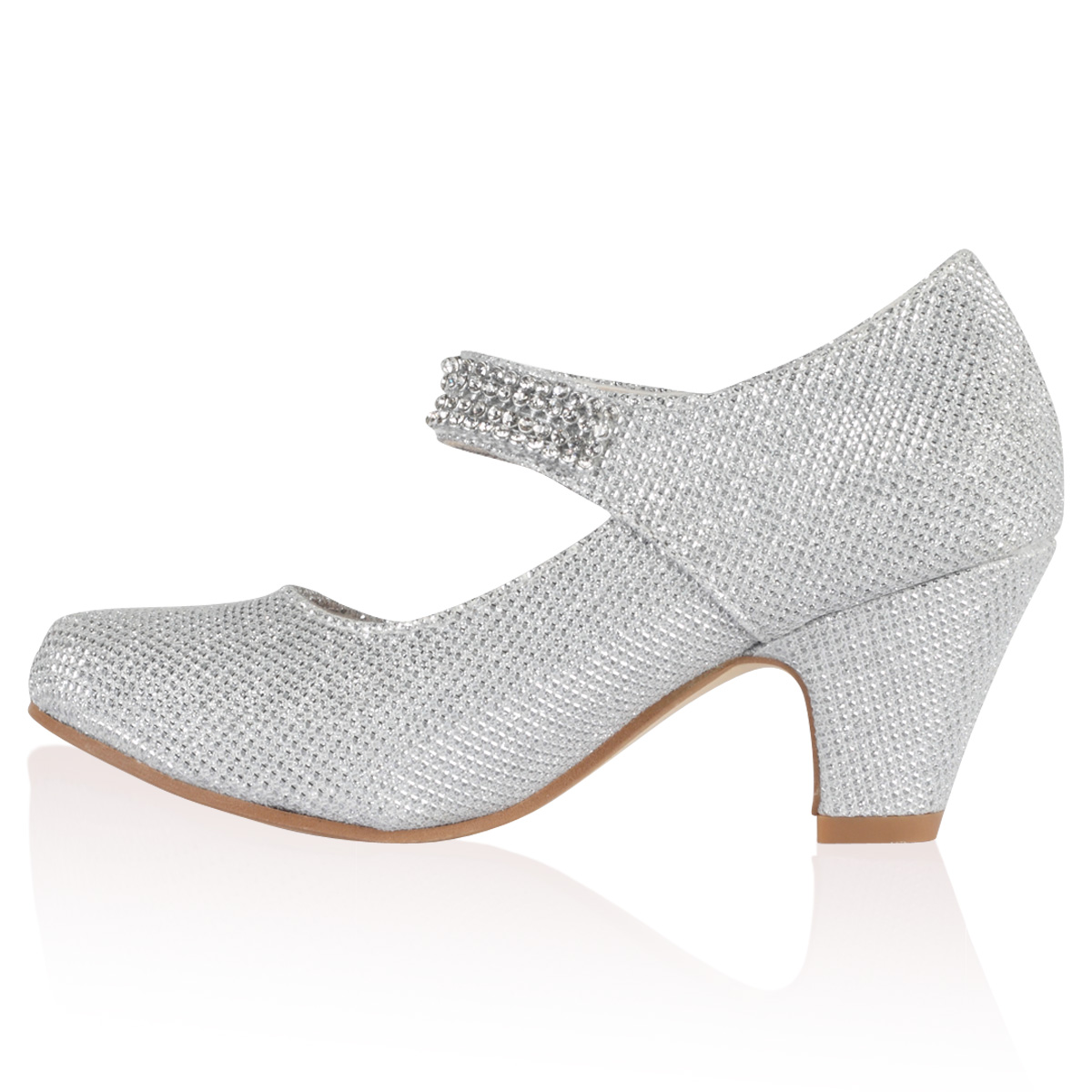 NEW GIRLS SILVER GLITTER KIDS DIAMANTE MARY JANE LOW HEEL PARTY ...