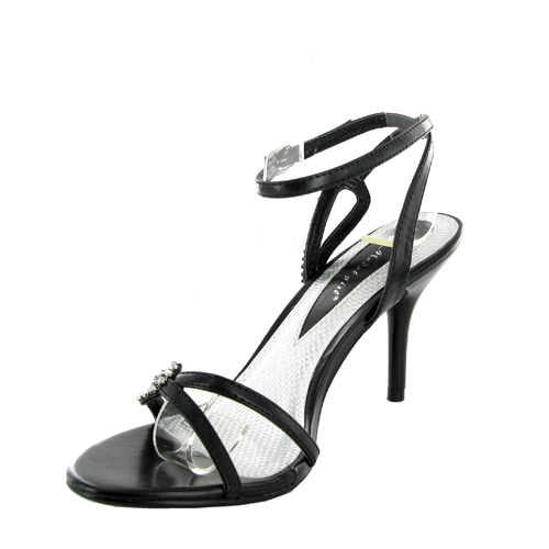 NEW LADIES BLACK STRAPPY HEEL SANDALS SHOES SIZE 7