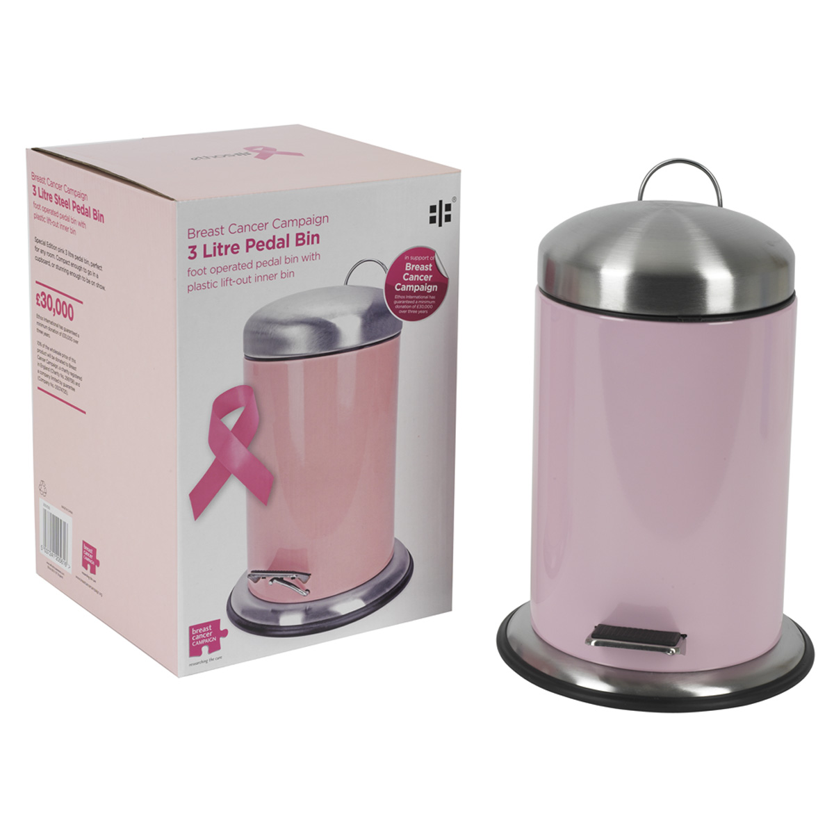 Pink campaign pedal bin unique home living for Pink bathroom bin