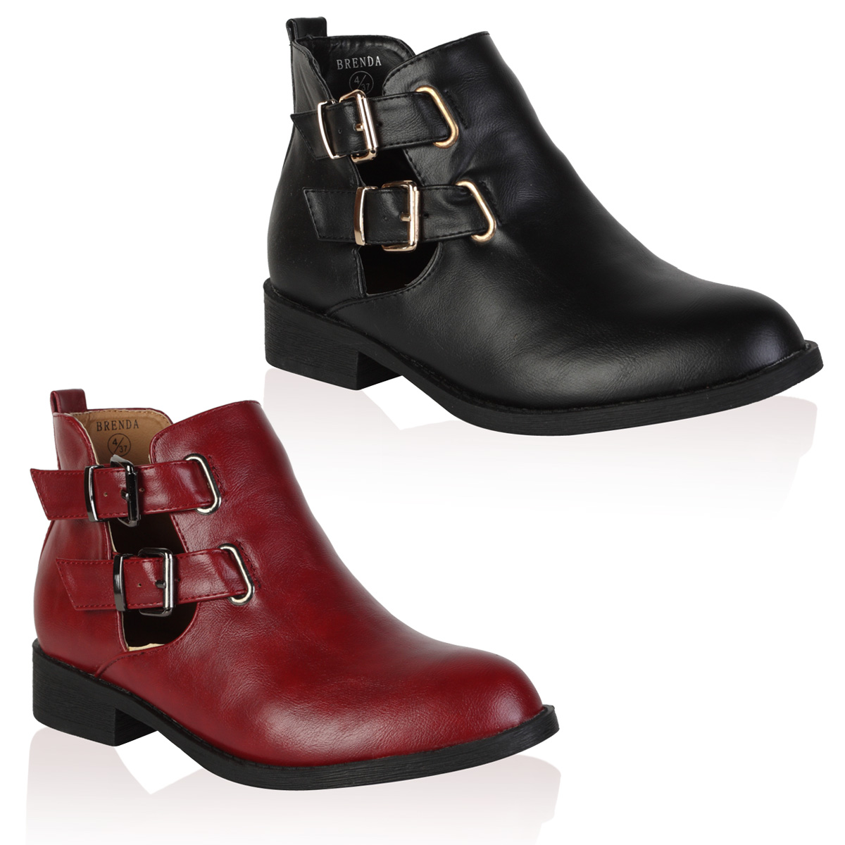 Ladies Faux Leather Cut Out Womens Flat Winter Buckle Ankle Boots ...