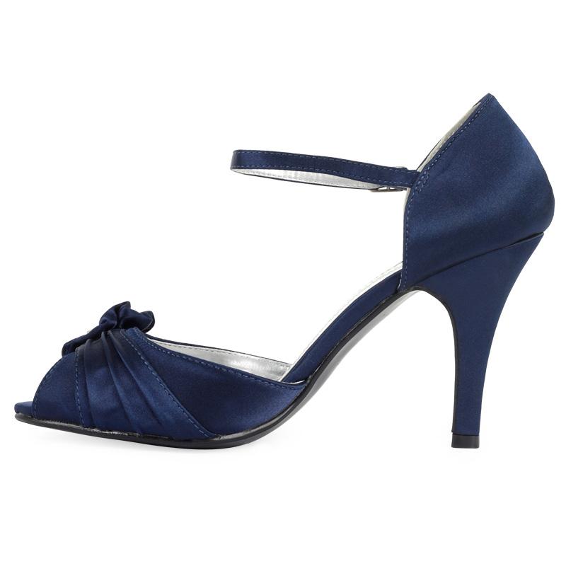 new navy blue diamante floral womens peep high heel