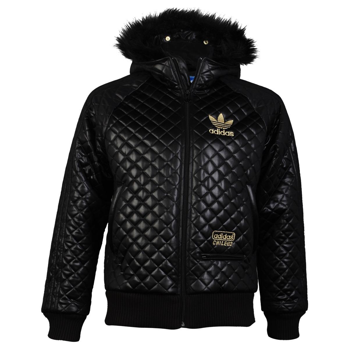 Mens Adidas Originals Black Quilted Wet Look Faux Fur Bomber Jacket Size XS-XL   EBay