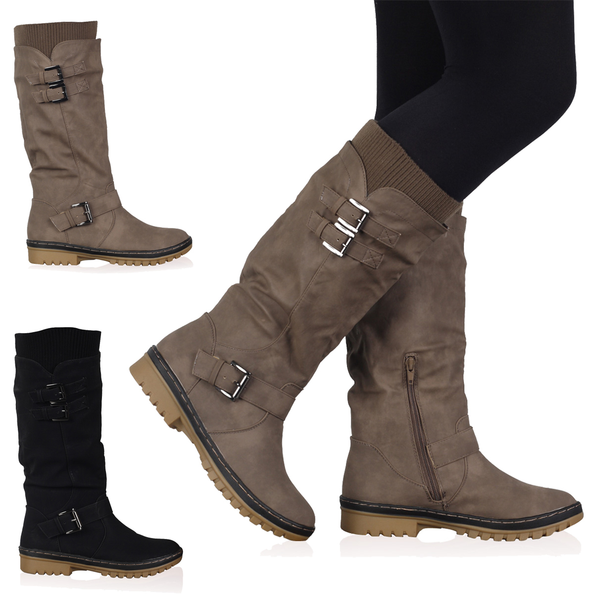 VH6 WOMENS BLACK BUCKLE GRIP SOLE LADIES MID CALF WINTER BOOTS ...