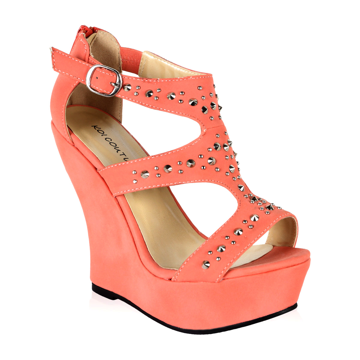 new womens coral orange faux suede studded high