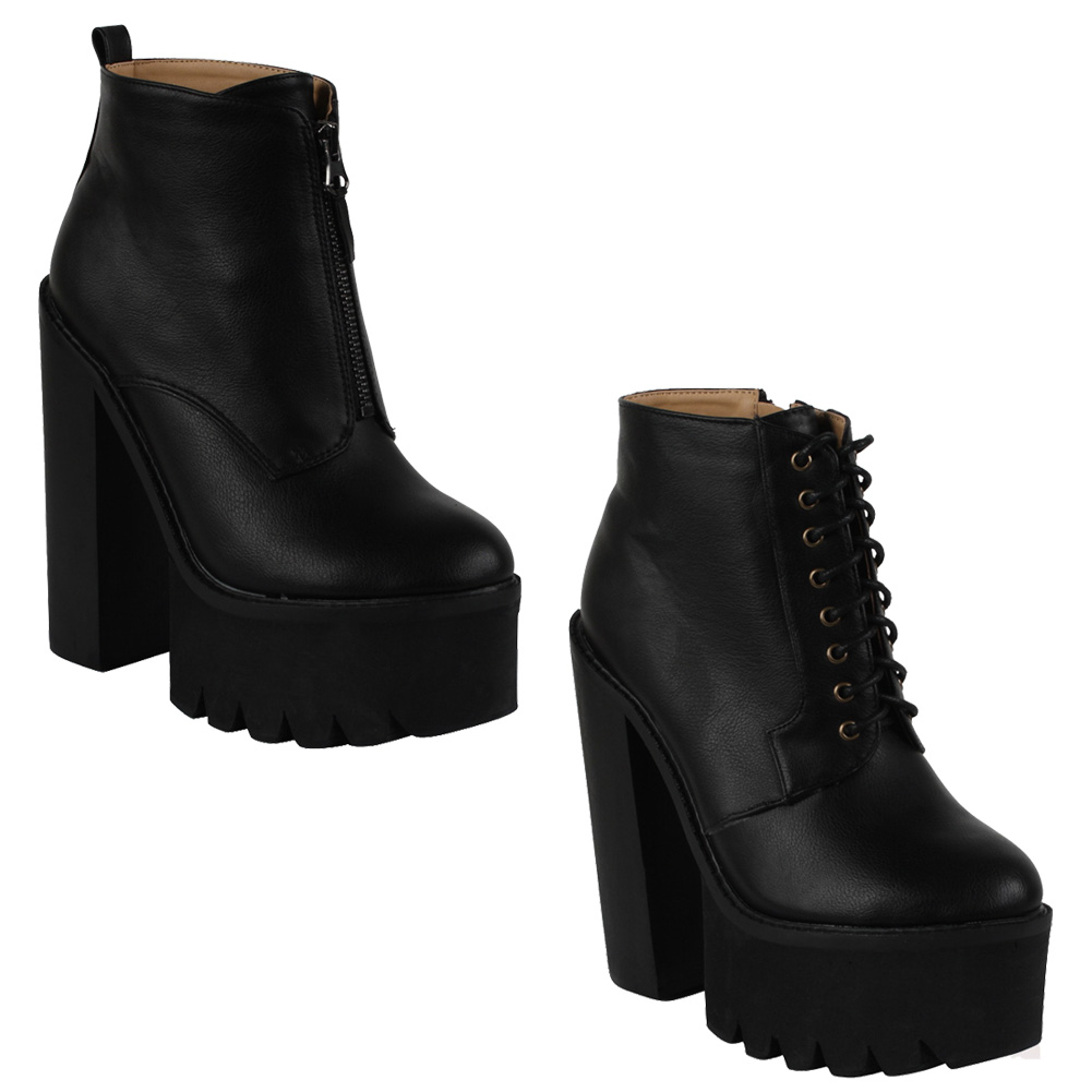WOMENS HIGH PLATFORM CHUNKY HEEL LADIES GRIP SOLE ANKLE BOOTS ...