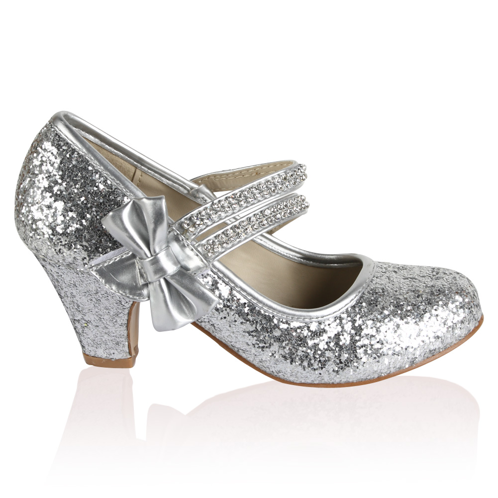 11J GIRLS SILVER GLITTER KIDS DIAMANTE LOW HEEL MARY JANE PARTY