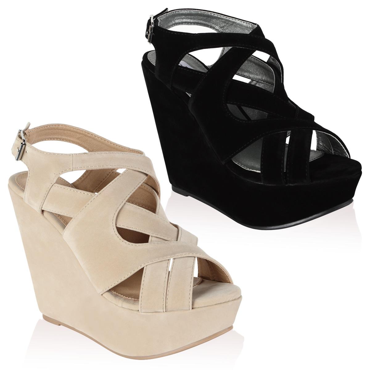 chaussure matiere daim pour femme a talon compense avec lanieres taille 36 40 ebay. Black Bedroom Furniture Sets. Home Design Ideas