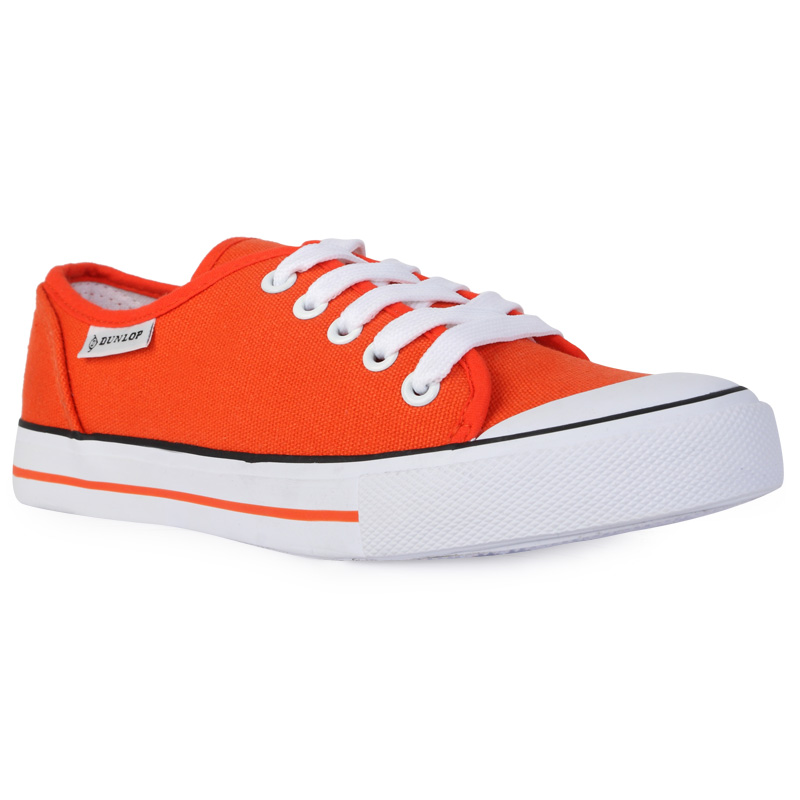 new womens orange dunlop laced up canvas pumps