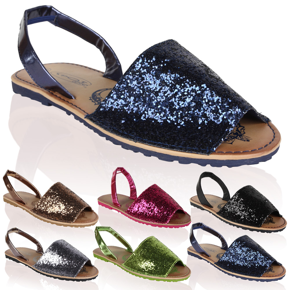 Navy Blue Flat Sparkly Shoes