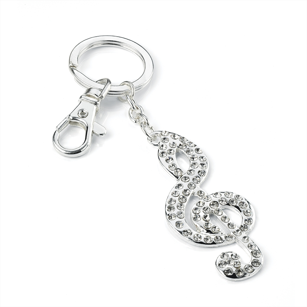 NEW LADIES SILVER COLOUR MUSIC NOTE MOTIF KEY RING
