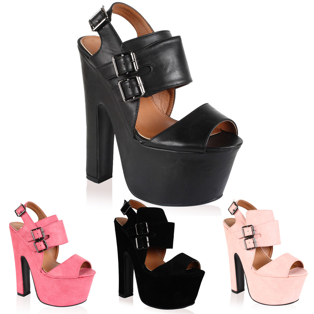 NEW WOMENS PLATFORM BUCKLED FASTENING LADIES HIGH HEELED SANDALS SHOES SIZE 3-8