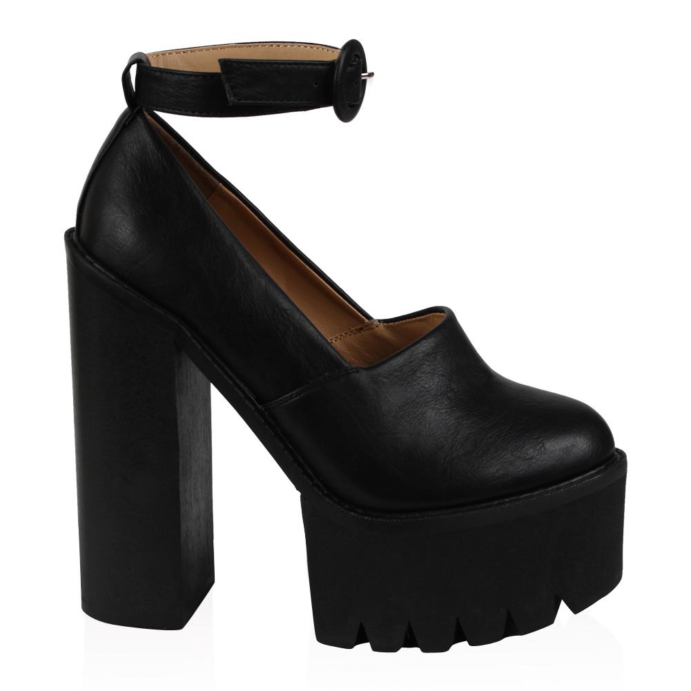 chaussure faux cuir femme bottine plateforme epaisse a talon