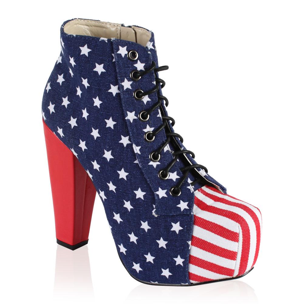 new womens american flag high heeled platform ankle