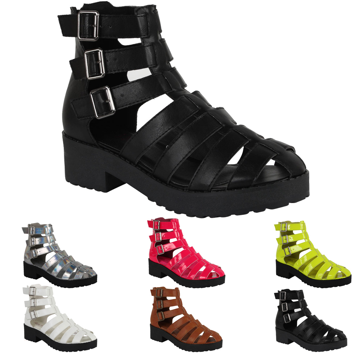 12w womens strappy cut out gladiator sandal ankle