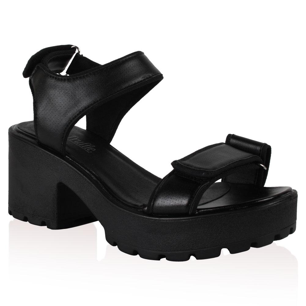Black sandals grunge - New Ladies Platform Block Heel Womens Grunge Summer Velcro Punk Sandals Shoes