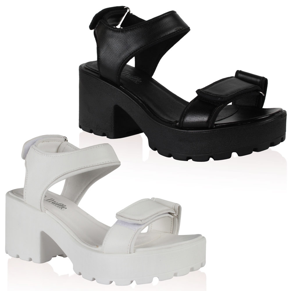 Black sandals chunky - New Womens Platform Punk Goth Ladies Casual Summer Chunky Heel Sandals Size 5 10
