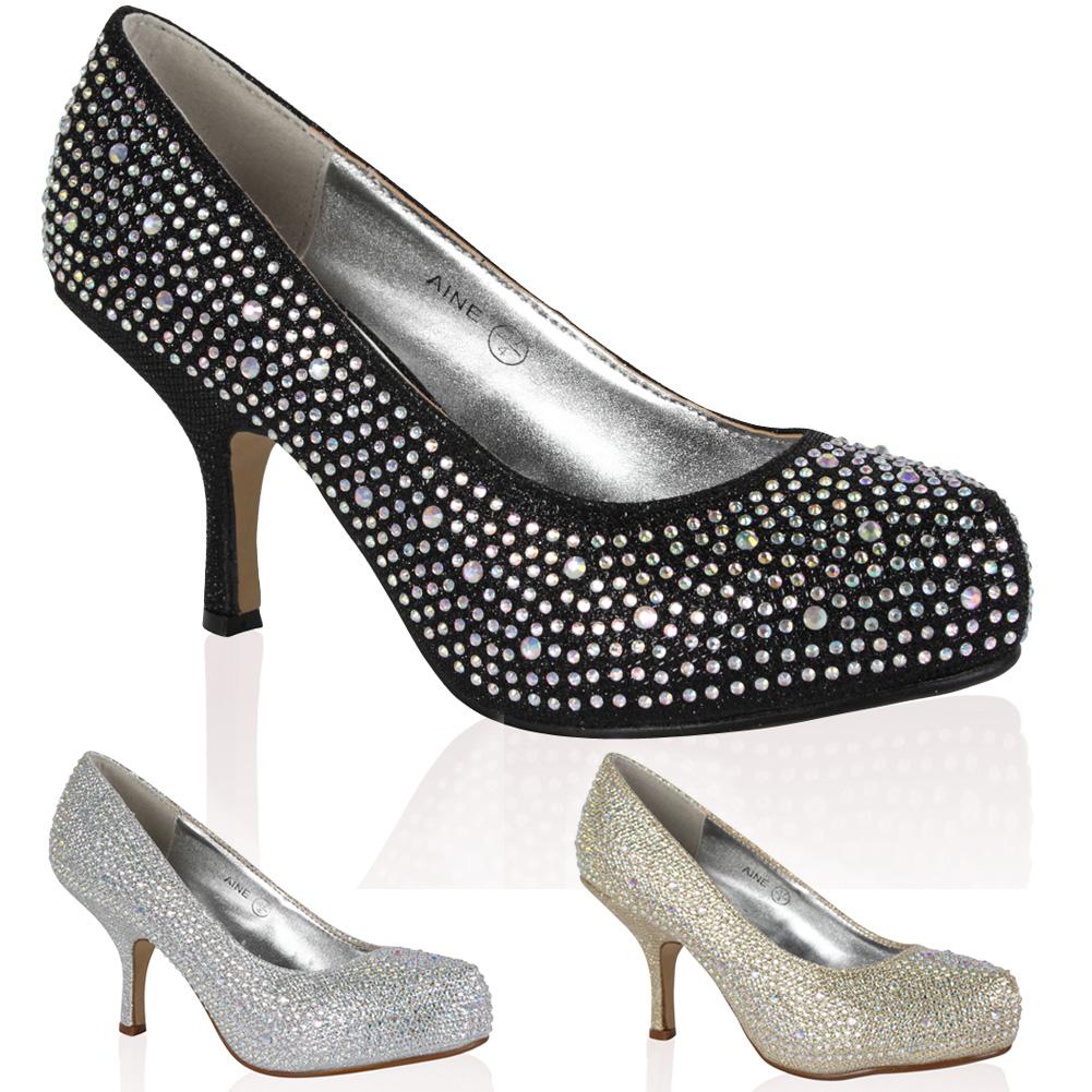 satin damen pumps mit diamanten high heels hochzeit ball glitzer schuhe gr 36 41 ebay. Black Bedroom Furniture Sets. Home Design Ideas