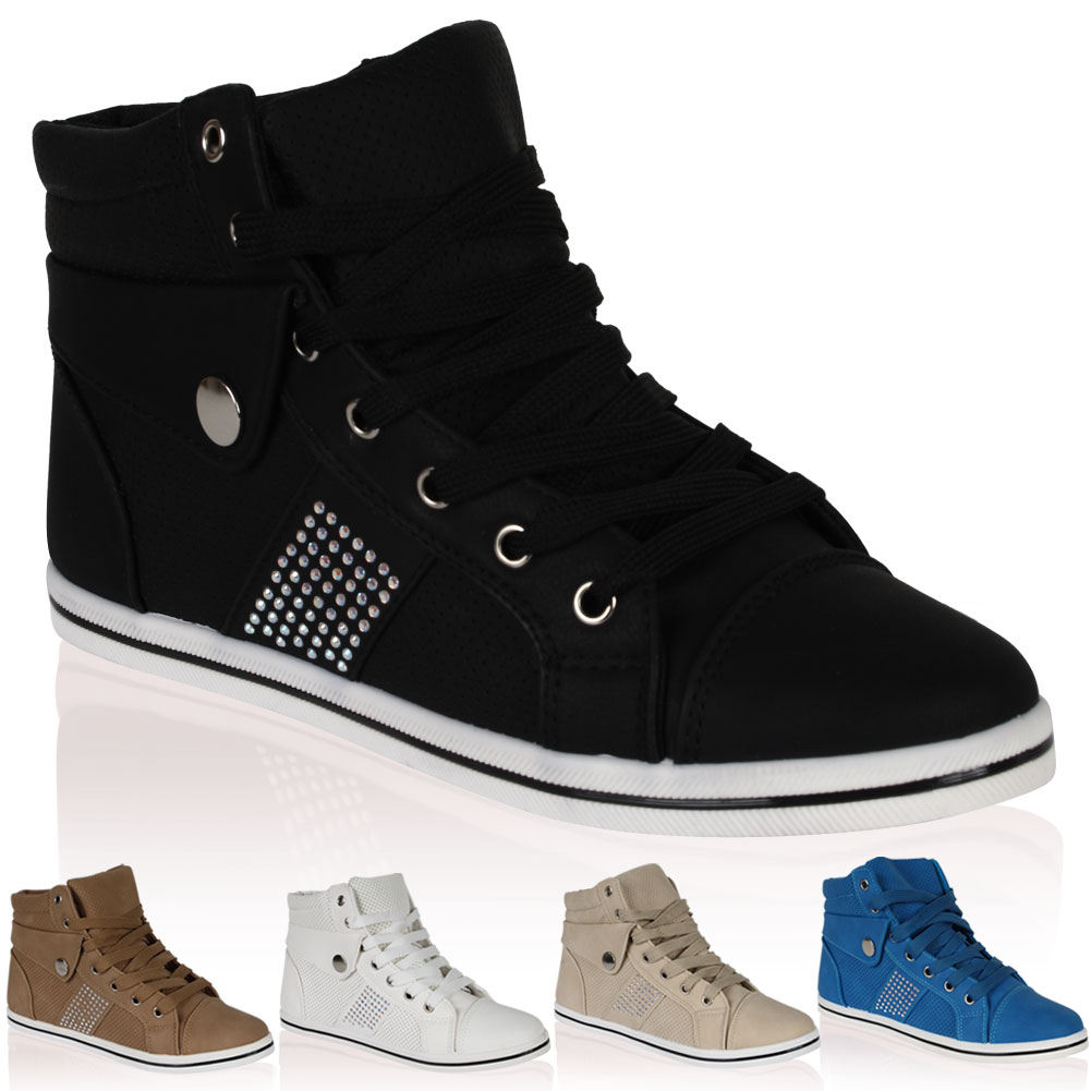 Ladies PU Leather Womens Diamante Hi High Top Lace Up Shoes Trainers Size 4-9