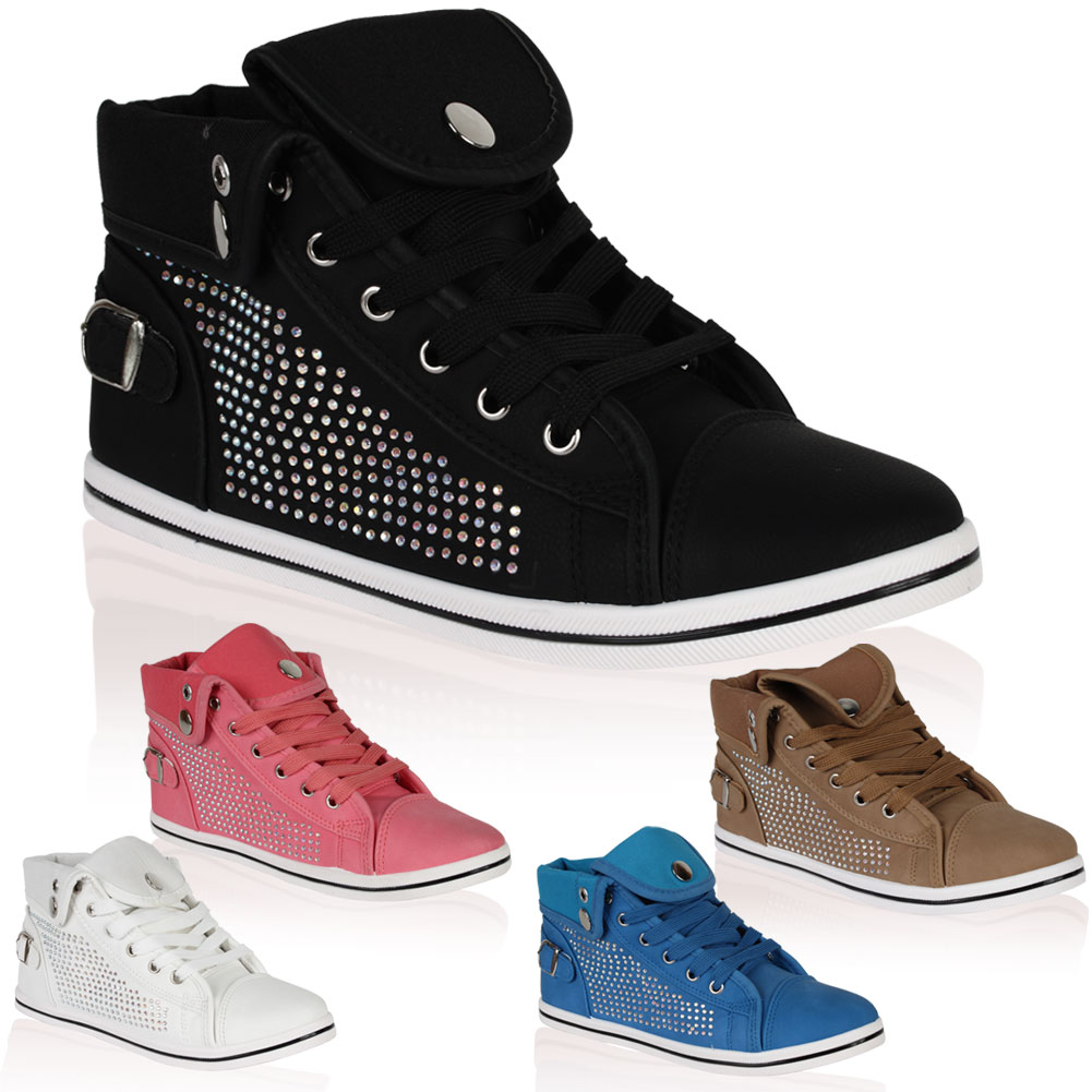 New Womens Embellished Lace Up Ladies Fold Over Hi Top Sneakers Pumps Size 4-9