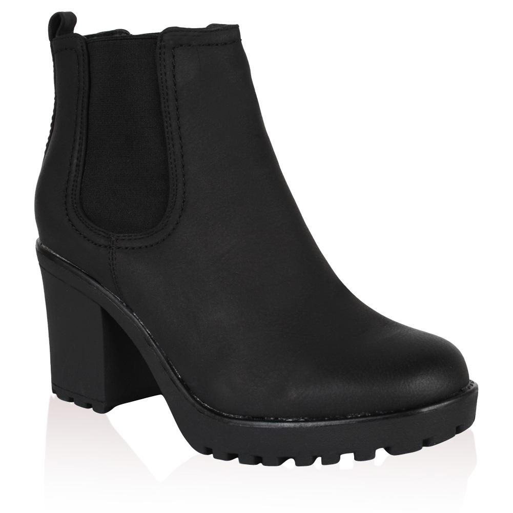 new womens black pu leather mid heel chelsea ankle