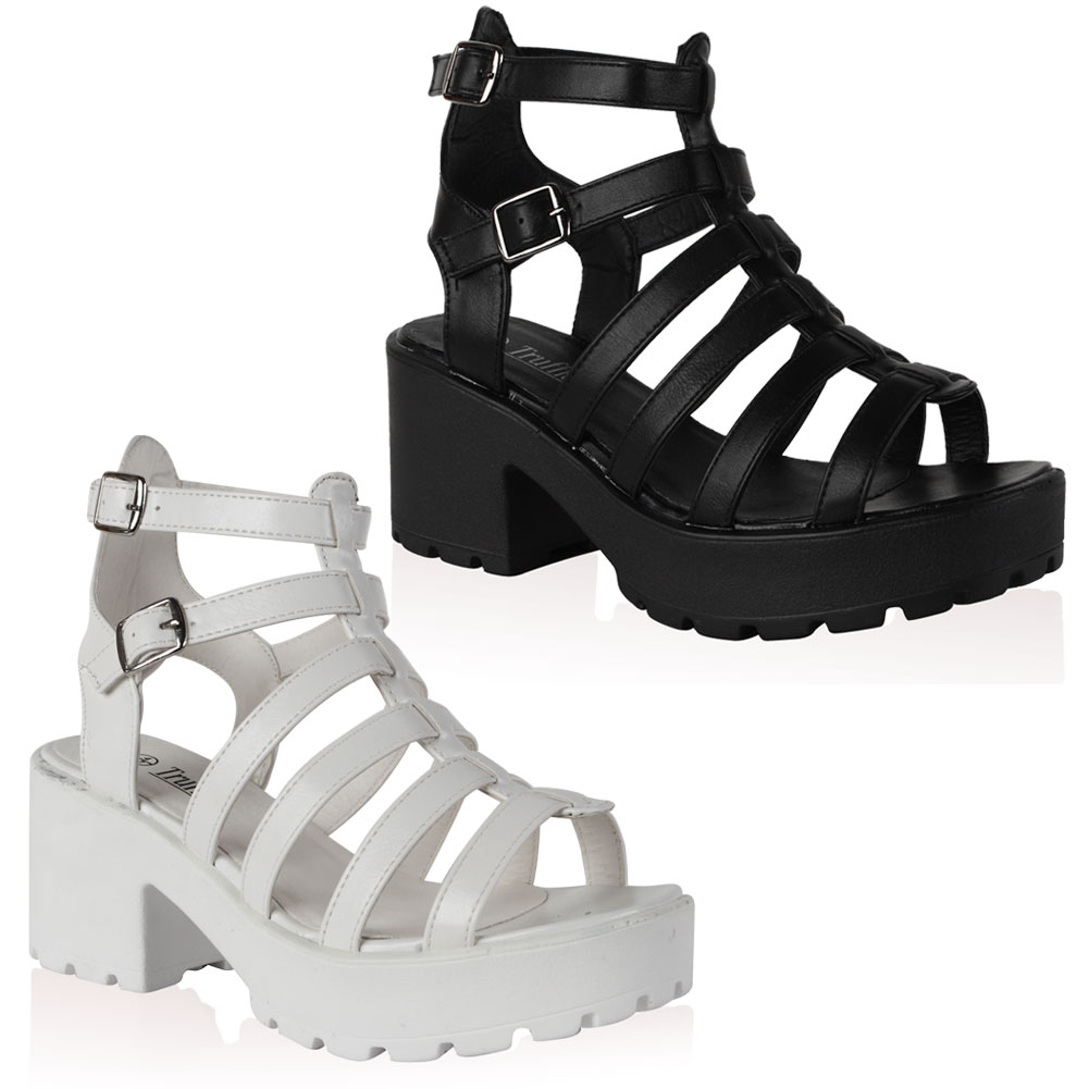 15A WOMENS PLATFORM LADIES CUT OUT CHUNKY WEDGE HEEL GLADIATOR ...