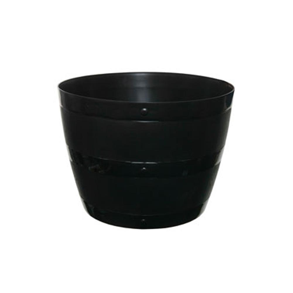 Black Plastic Barrel Planter