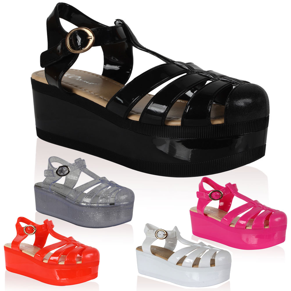Women's jelly sandals size 10 - Ladies Jelly Cut Out Womens Flatform Chunky Block Wedge Shoes Sandals Size 5 10