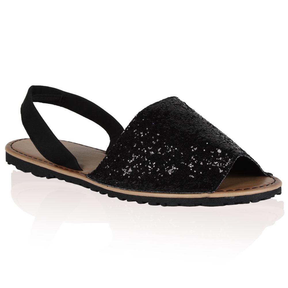 Black Peep Toe Flat Slingbacks 87