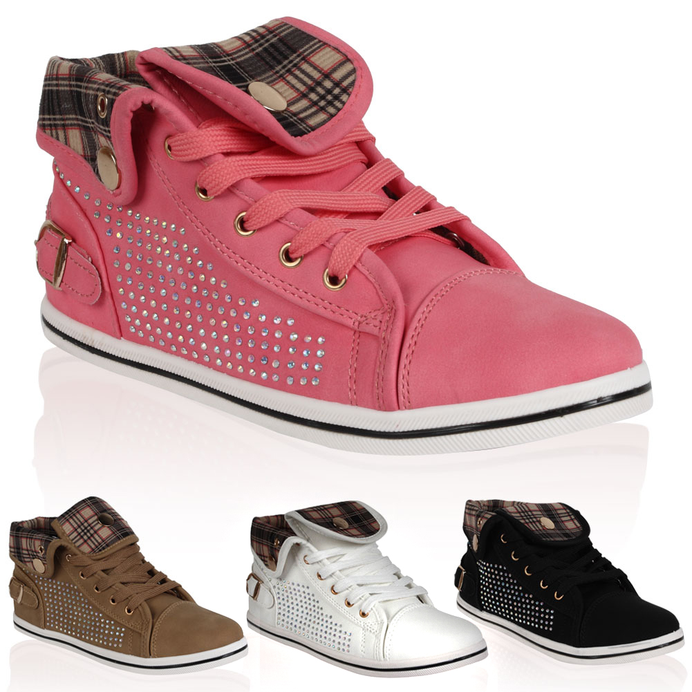 New Ladies Check Diamante Womens Casual Hi Top Festival Trainers Size 4-9