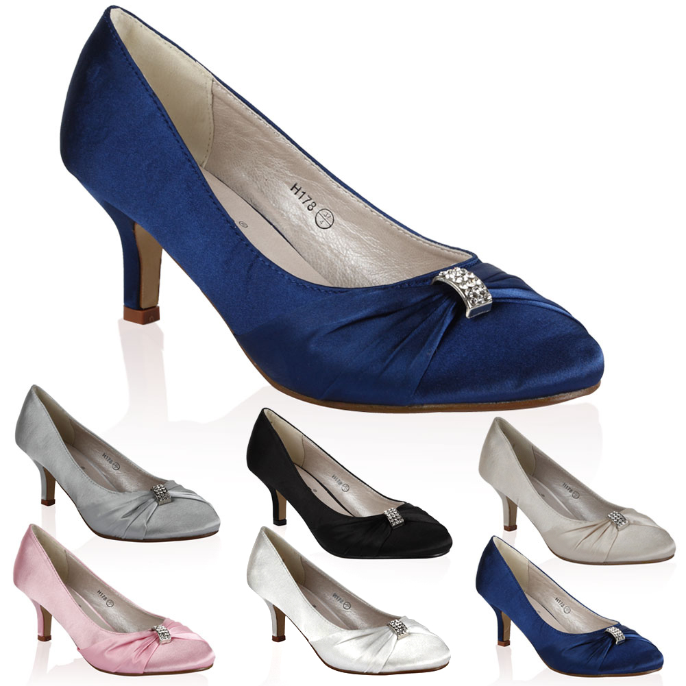 Womens Evening Satin Ladies Bridal Prom Party Kitten Heel Court Shoes Size 4-9