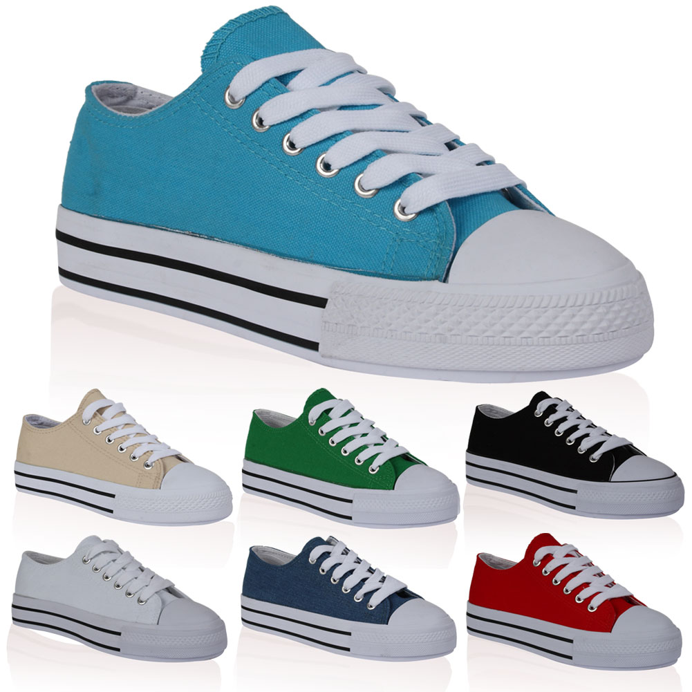 New Ladies Flatform Platform Womens Casual Summer Trainers Pumps Shoes Size 4-9