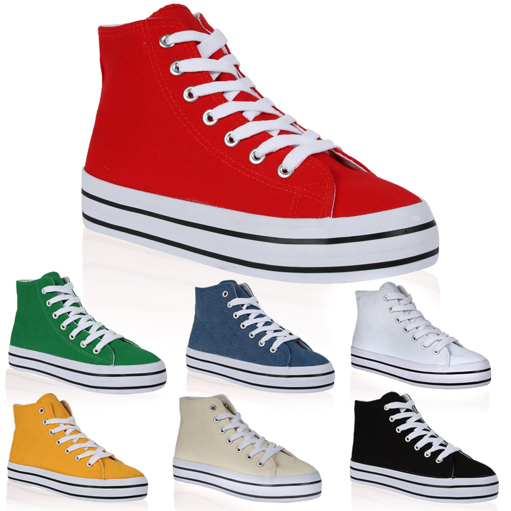 New Womens Flatform Ladies Summer Ankle High Top Shoes Trainers Size 4-9