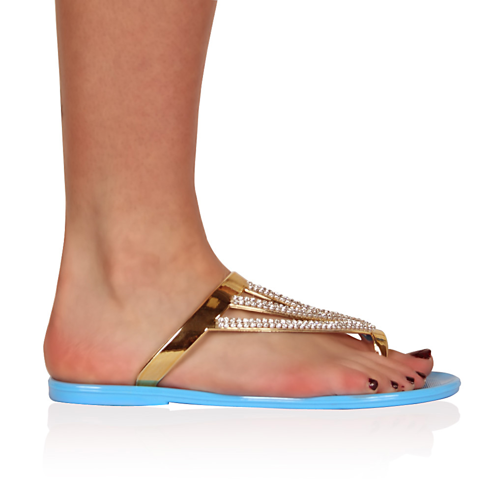 gr n diamanten glitzer gelartig damen flach strand flip flop sandalen gr 37 42 ebay. Black Bedroom Furniture Sets. Home Design Ideas
