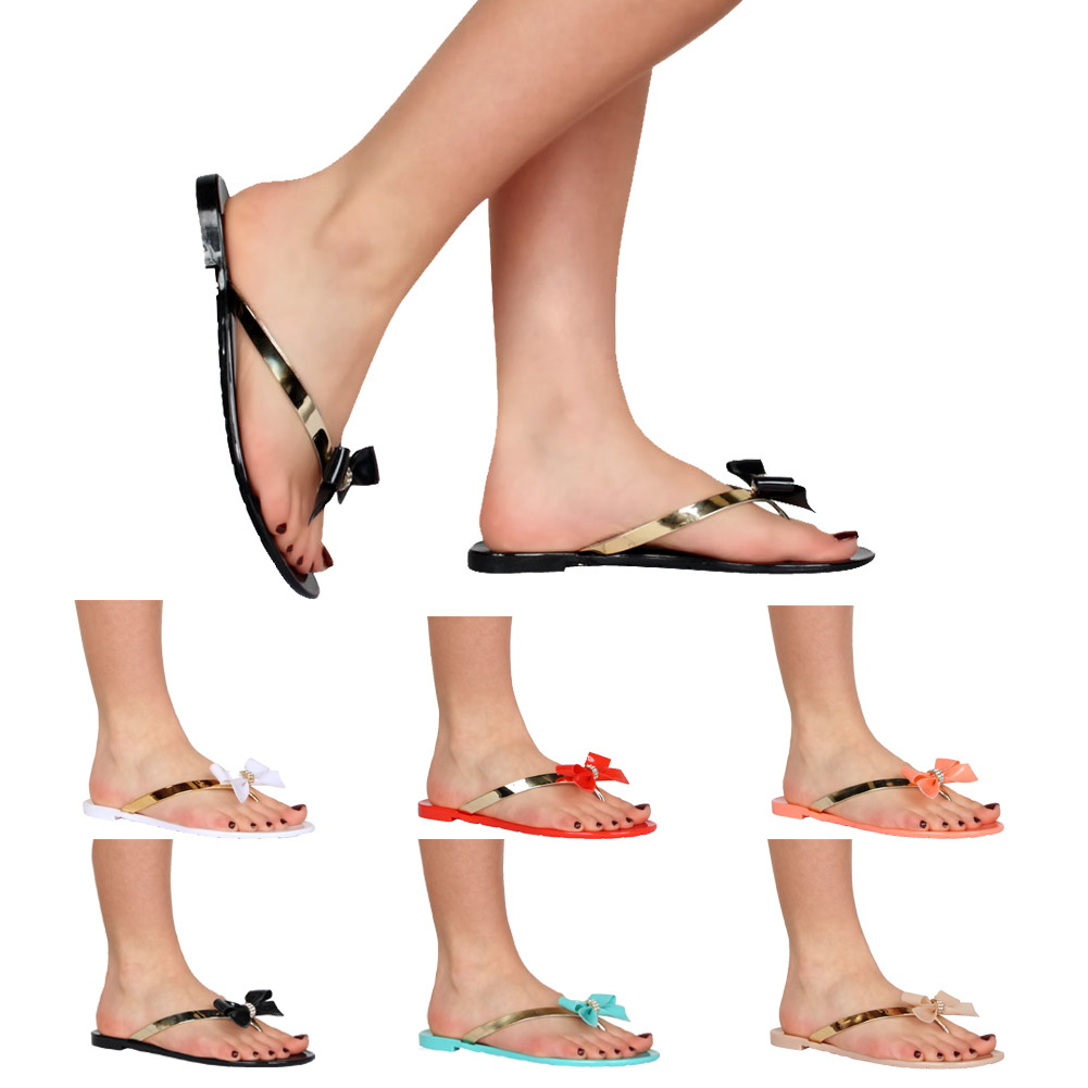 Nouvelles Sandales Tongs Plastique Noeud Strass Corail Femme Pointure